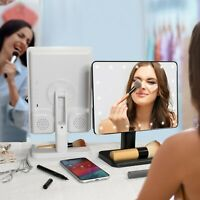 Aduro Vanity Mirror with Bluetooth Audio Speaker USB Rechargeable Battery LED