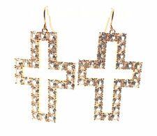 Sterling Silver Gold Tone Round CZ Religious Cross Drop Dangle Hook Earrings