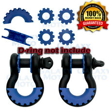 BLUE D-Ring Shackle Isolator & Washers 6pcs Set Rattling Protection Cover Kits