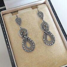 Sterling Silver Art Deco Marcasite Drop Dangle Earrings