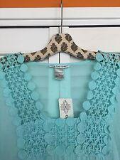 XL New Beach Dress Tunic Aqua Blue Cotton Cover-up Lace Ruffle Blouse Top Shirt