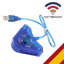 ACTECOM® Conversor de Mando AZUL PS1 PS2 PSX para PC PS3 Mandos Dual MULTIPLAYER