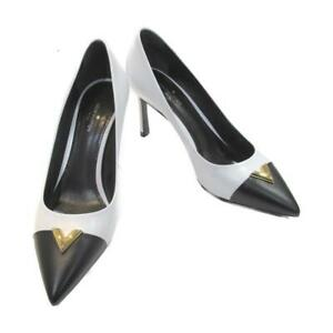 LOUIS VUITTON pumps heels leather White Black Used #35