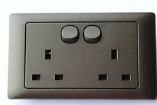 13A Double Switched Plug Socket Screwless Stone Grey Rocca