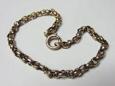 """Antique 14K Solid Rosey Gold Fancy Knot Link Bracelet 7"""" Long 3mm Wide"""