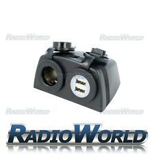 High Quality Black ABS Plastic Dual 10 Amp USB & Din Socket Plug w/ Covers
