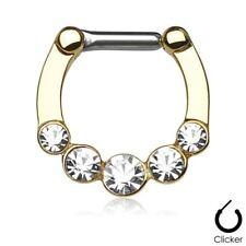 "Plate 16 Gauge 5/16"" Body Jewelry Septum Nose Clicker 5 Gems Clear Gold"
