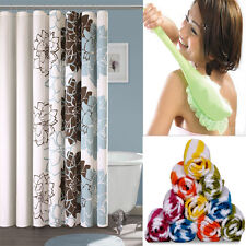 Assorted Combo - Shower Curtain + Long Handled Bath Brush + 6 Face Towel
