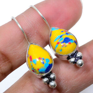 Yellow  Turquoise Handmade 925 Sterling Silver Jewelry Earring  VIE-336
