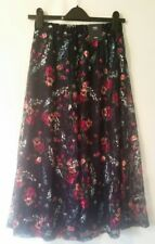 M&S COLLECTION PULL-ON STRETCH TWO-LEAR MIDI SKIRT NAVY FLORAL SIZE 8UK - BNWT
