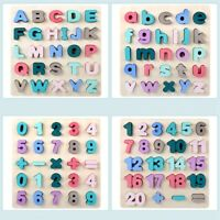 Puzzle Wooden Toys Jigsaw Letter Alphabet Number Puzzle Preschool Baby Toy L3N5