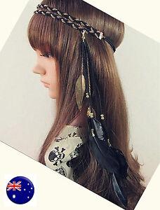 Women leaf suede leather Feather Bohemian boho Braided Chain hair band headband
