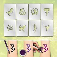 Tatuaggio Formine 03 Scintillante Trucco Per Bambini Aerografo Animali 8 Pz.
