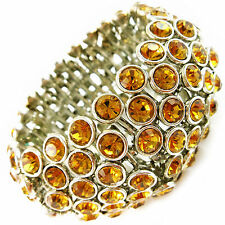 USA Bracelet amber rhinestone CRYSTAL stretch elastic orange wristband bridal