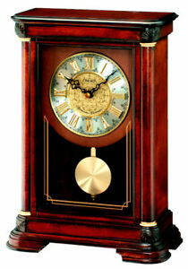 Seiko Dark Wooden Westminster Chime Battery Mantle Clock with Pendulum QXQ008B