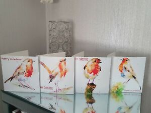 ON SALE! Exclusive Christmas Card box set featuring 4 Robin birds Elle Smith