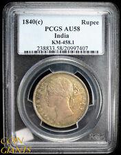 1840(c) India 1 Rupee PCGS AU58 Rainbow Toned KM-458.1 Silver British Coin