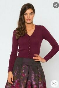 """ALANNAH HILL MAROON """"HER CHARMED SIGHT"""" JEWELLED BUTTON CARDIGAN SIZE 8."""