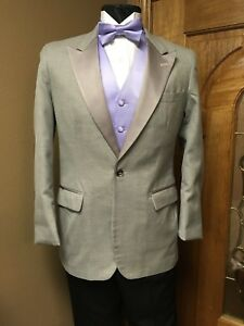 Grey tuxedo jacket silver one button wool wedding formal cosplay prom groom 197O