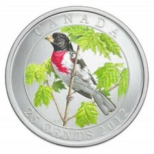 2012 Canadian 25 Cent Birds of Canada  Rose Breasted Grosbeak Coloured Coin