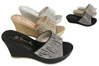 Womens Black Silver Gold Rhinestone Glitter Platform wedge slides sandals shoes