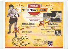 CARMEN BASILIO-BILLY BACKUS-TONY GRAZIANO AUTOGRAPHED COMMEMORATIVE #61 OF 100