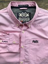 SUPERDRY MENS XXL 2XL LARGE 42-44 TOP DESIGNER LONG SLEEVED PINK SHIRT
