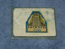 ORIGINAL 1934 CITY OF LOS ANGELES AUTOMOTIVE PARKING STICKER / DECAL