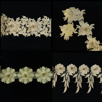 1 Yard Lace Embroidered Venise Floral Trim Sewing Craft Clothes Applique Patch
