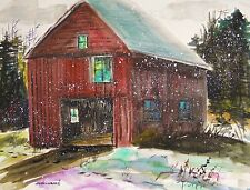 ORIGINAL FARM Snow Landscape Watercolor Painting art John Williams Expressionism