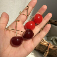 Cute Sweet Simulation Red Cherry Fruit Stud Earrings for Women Girl Student Gift