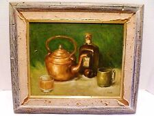 RARE Antique JOSEPH A. FLECK Copper Teapot STILL LIFE Liquor Bottle OIL PAINTING