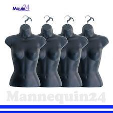 4 Pack Female Torso Dress Body Mannequin Forms Black Women Hanging Display