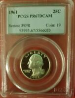 PCGS 1961 PR67DCAM Washington Quarter - Proof Deep Cameo