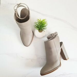Vince Joanna Ankle-Strap Leather Booties Gray Leather Heels Womens Shoe Size 9.5