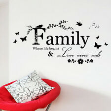 Family Where Life Begins and Love Never Ends Wall Sticker Vinyl Home Room Decor