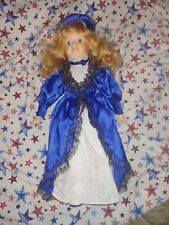 """Porcelain Doll , 16"""", 19th Century Blue And White Dress, Blond Hair"""