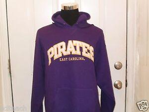 Brand New East Carolina Pirates Long Sleeve Purple Hooded Sweatshirt Hoodie