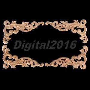 Wood Carved Corner Onlay Applique Frame Decor Furniture Craft Unpainted 19*11cm