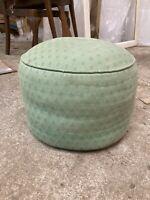 Vintage Round Green Blue Pouffe Footstool 16in 41cm Diameter 12in 30cm high