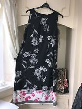 EX EVANS BLACK MULTI FLORAL STRETCH LONG DRESS SIZE 26/28 £49