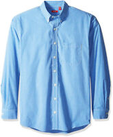 IZOD Men's Essential Check Long Sleeve Shirt, American Dream (Blue) New w/Tags
