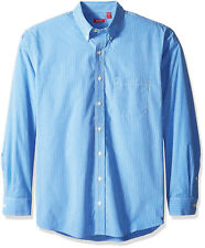IZOD Long Sleeve Checkered Woven Button Down Shirt Xx-large Blue