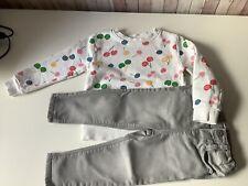 Mädchenkombi gr 92 Pulli pusblu Kirschen Jeans grau Mango
