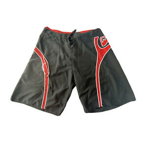 Quiksilver Mens 36 Board Shorts Black And Red Drawstring Swim Trunks Embroidered