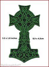 Green Celtic Cross Kelts Vikings Thor Religious Gaelic Irish Crucifix Patch