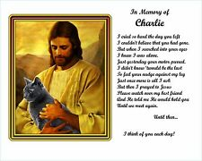 Unique Christmas Gift  -Gray Cat Memorial w/Jesus/Poem Personalized w/Cat's Name