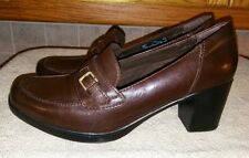 Clarks Bendables 62853 Women's Casual Slip On Leather Wedge Heel Loafers US 7.5M