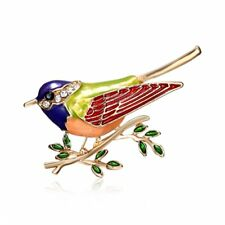 Brooch Pin Women Lady Jewelry Gift Colorful Pearl Colorful Animal Bird Crystal