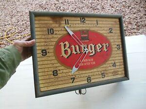 VINTAGE BURGER BEER CLOCK CINCINNATI REDS OFFICIAL BEER CIRCA 1950 -1960s